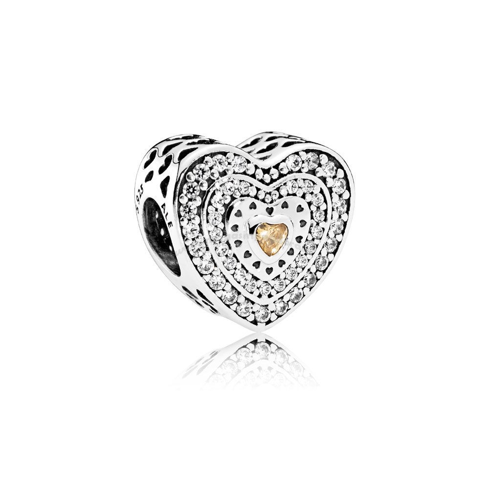 Bijoux Fantaisie PANDORA Charms Saint Valentin Charme Coeur luxueux Fancy Coloured Clear CZ Accessoires