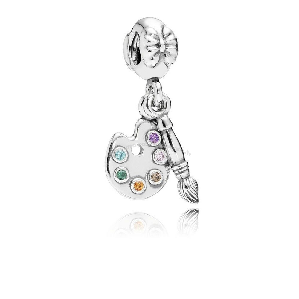 Bijoux Fantaisie PANDORA Dangles Artiste Palette Dangle Charm Multi Colour CZ Accessoires