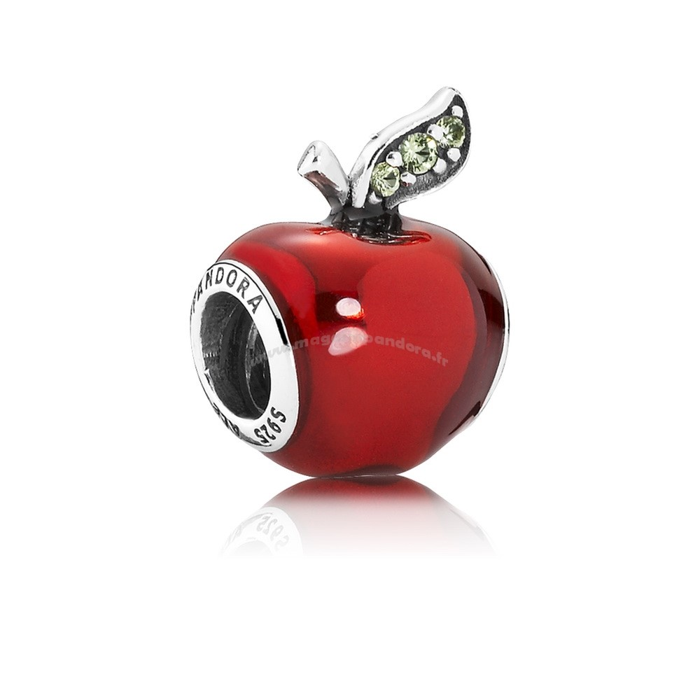 Bijoux Fantaisie PANDORA Disney Collection Disney Snow White's Pomme Charm Red Enamel Light Green CZ Accessoires