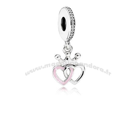 Bijoux Fantaisie PANDORA Fairy Tale Charms Crowned Hearts Dangle Charm Orchid Pink Enamel Clear CZ Accessoires