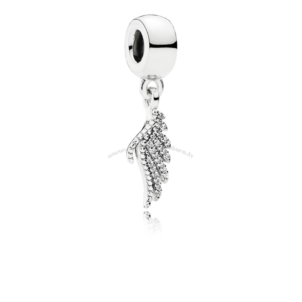 Bijoux Fantaisie PANDORA Inspirant Charms Majestueux Feather Dangle Charm Clear CZ Accessoires