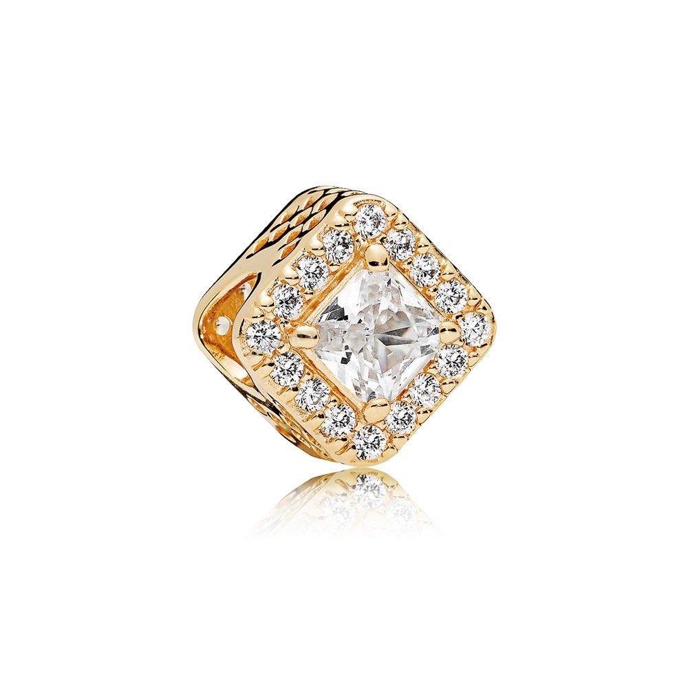 Bijoux Fantaisie PANDORA Passions Charms Chic Breloque Glamour Geometric Radiance 14K Or Clear CZ Accessoires
