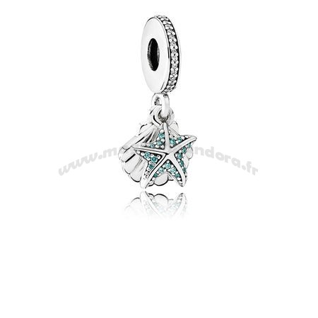 Bijoux Fantaisie PANDORA Passions Charms Nautique Tropical Etoile de merCharm Dangle Sea Shell Frosty Mint Clear Accessoires