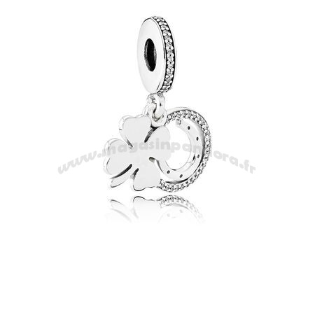 Bijoux Fantaisie PANDORA Saint Patrick's Day Bon Chance Charms Chanceux Day Dangle Charm Clear CZ Accessoires