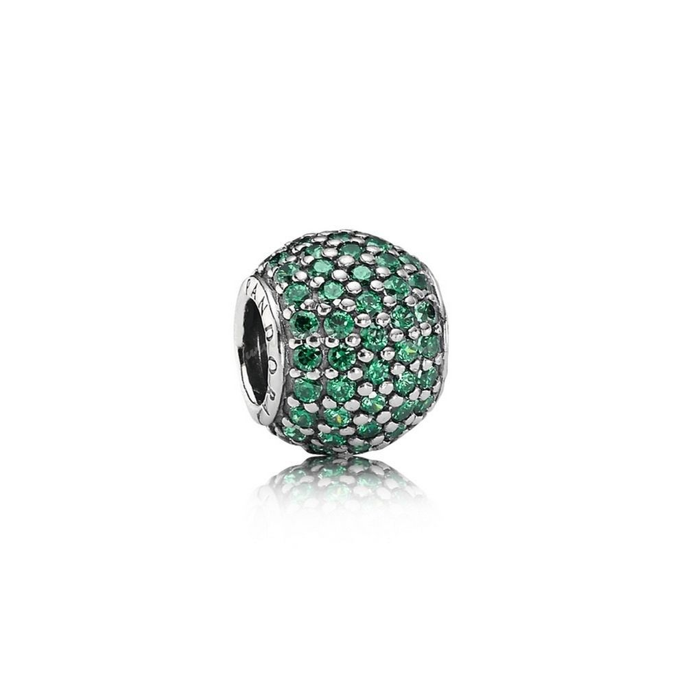 Bijoux Fantaisie PANDORA Saint Patrick's Day Good Luck Charms Pavé Lights Charm Dark Green CZ Accessoires